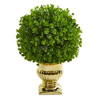 Eucalyptus Artificial Ball Topiary in Gold Urn