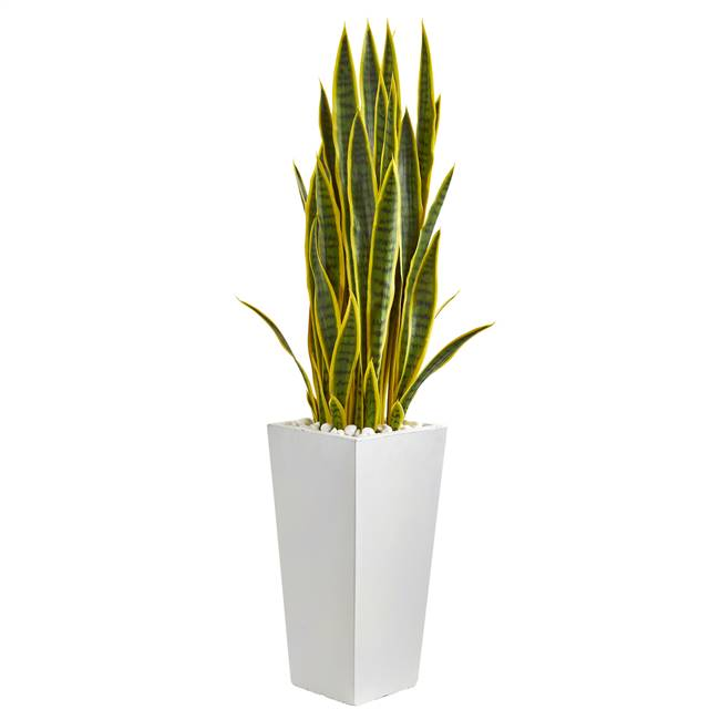 4' Sansevieria Artificial Plant in White Tower Planter