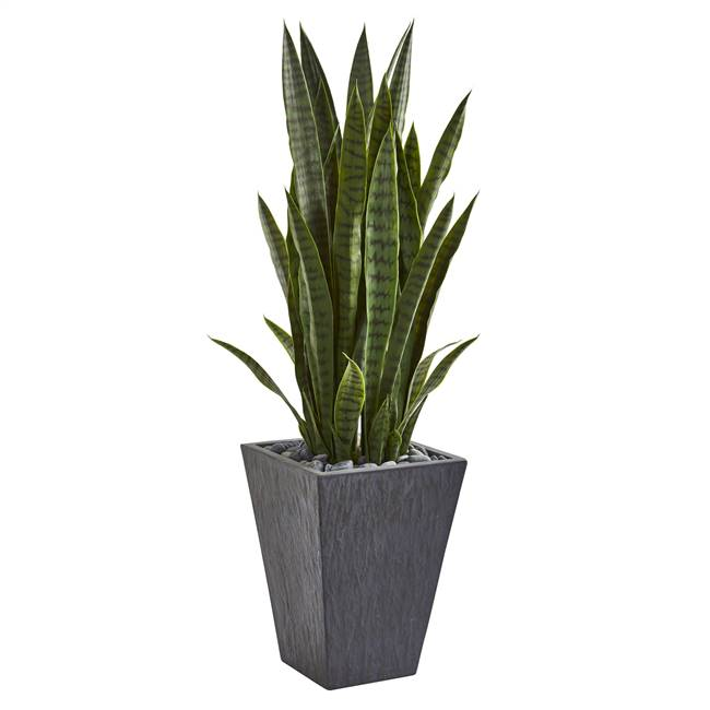 "45"" Sansevieria Artificial Plant in Sate Planter"