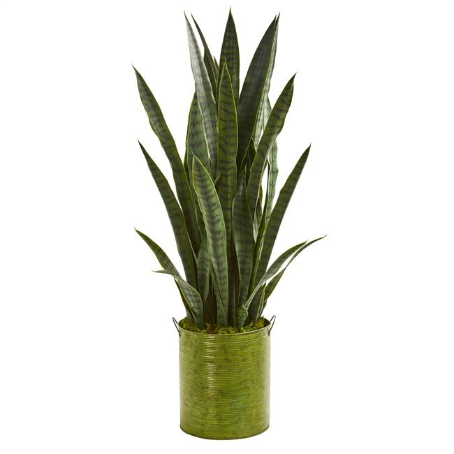"39"" Sansevieria Artificial Plant in Metal Planter"