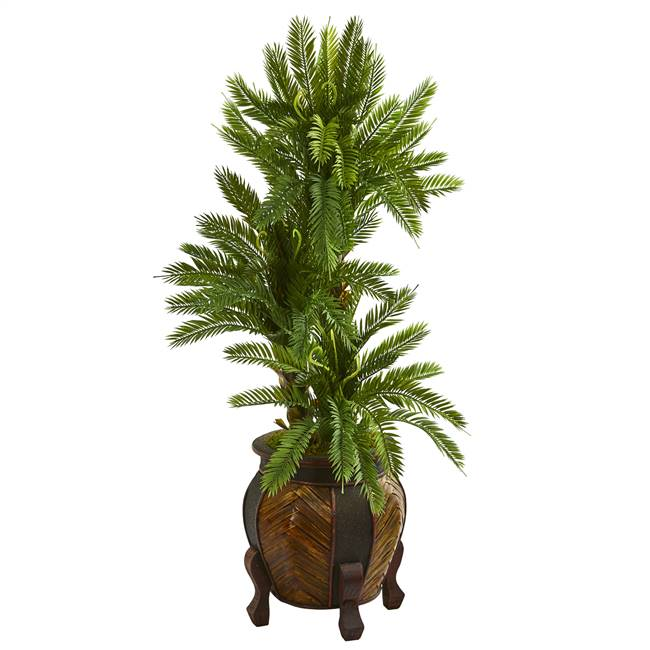 4' Triple Cycas Artificial Plant in Decorative Planter
