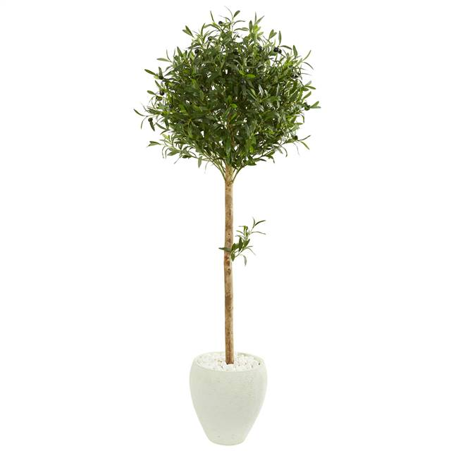 5' Olive Topiary Artificial Tree in White Planter