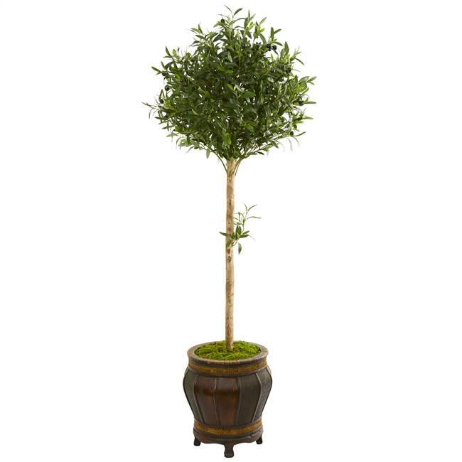 5.5' Olive Topiary Artificial Tree in Decorative Planter
