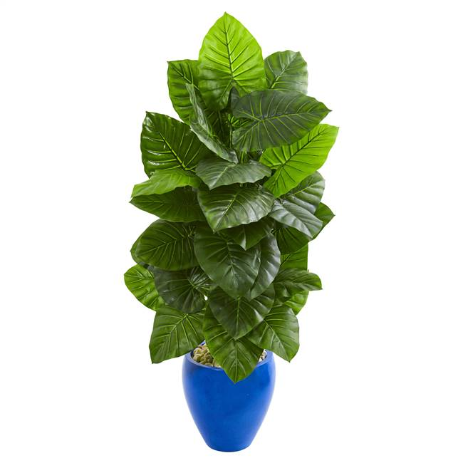 4.5' Taro Artificial Plant in Blue Planter