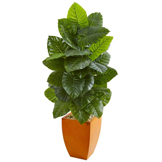 5' Taro Artificial Plant in Orange Planter