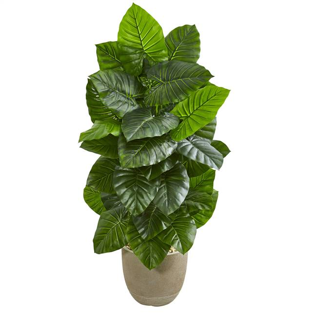 "53"" Taro Artificial Plant in Sand Stone Planter"