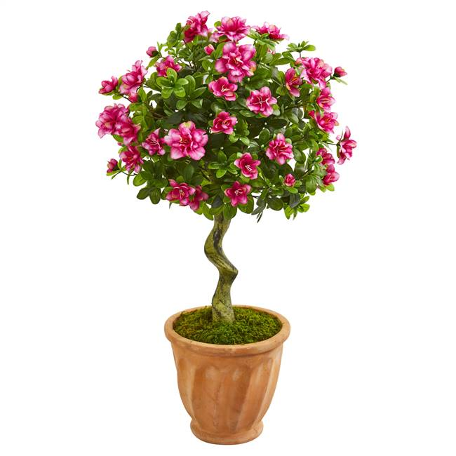 "39"" Azalea Artificial Topiary Tree in Terra Cotta Planter"