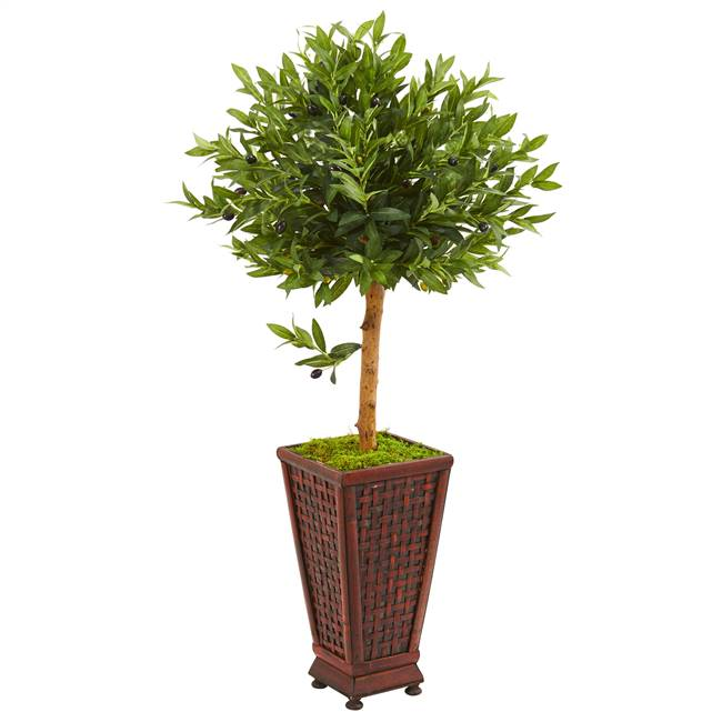 "46"" Olive Topiary Artificial Tree in Decorative Planter"