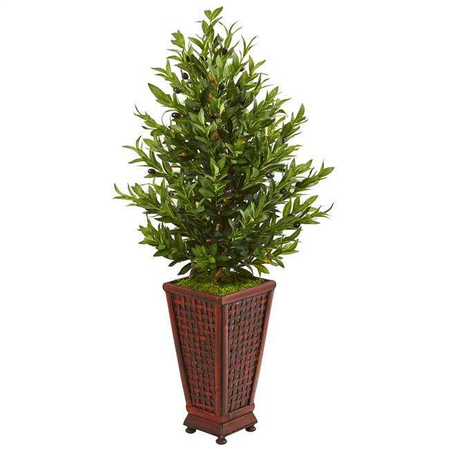 "46"" Olive Cone Topiary Artificial Tree in Decorative Planter"