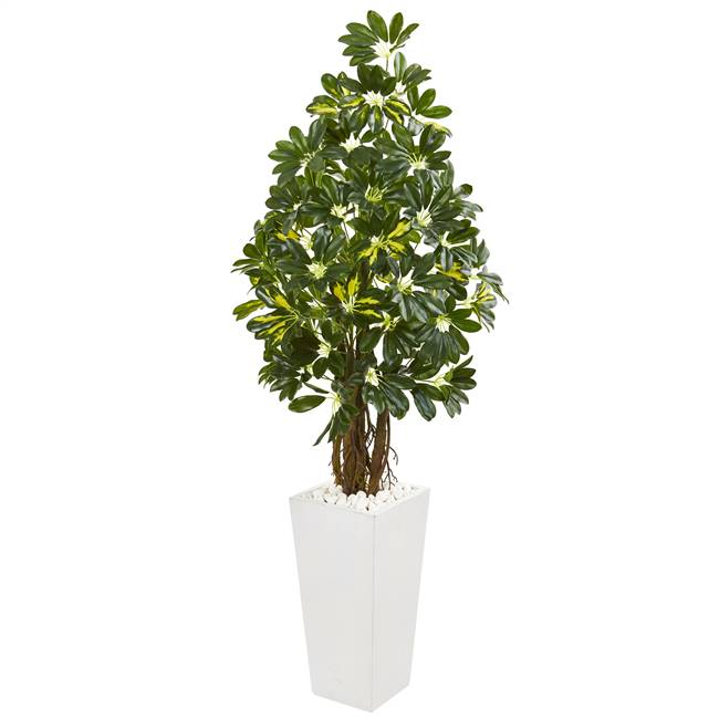 5' Schefflera Artificial Tree in White Tower Planter