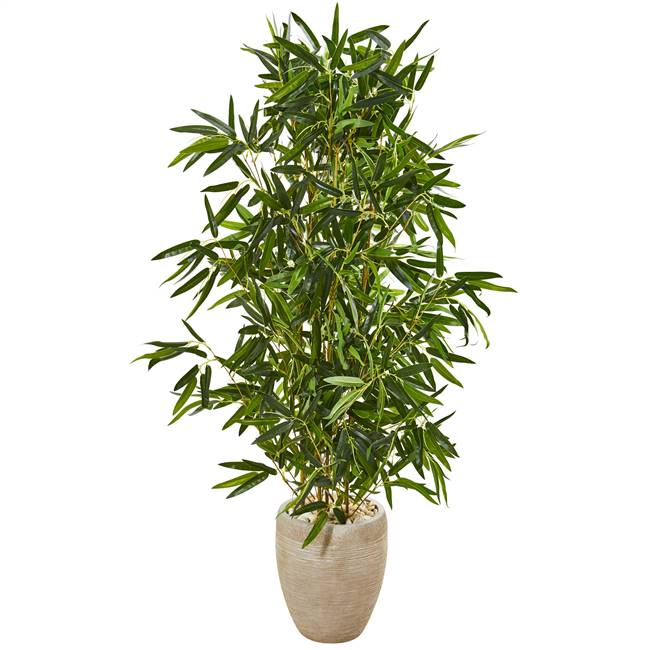 5' Bamboo Artificial Tree in Sand Colored Planter (Real Touch) UV Resistant (Indoor/Outdoor)