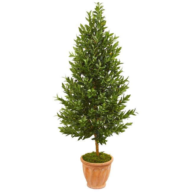 5' Olive Cone Topiary Artificial Tree in Terra Cotta Planter UV Resistant (Indoor/Outdoor)