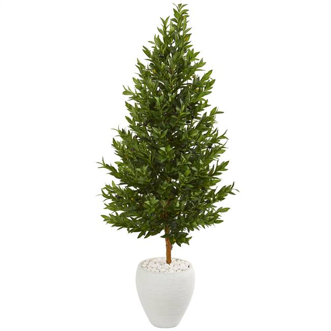 5' Olive Cone Topiary Artificial Tree in White Planter UV Resistant (Indoor/Outdoor)