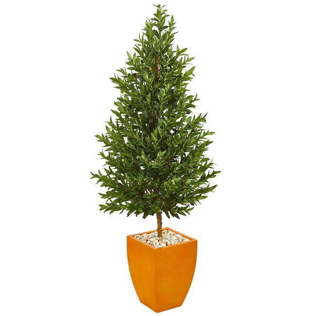 5.5' Olive Cone Topiary Artificial Tree in Orange Planter UV Resistant (Indoor/Outdoor)