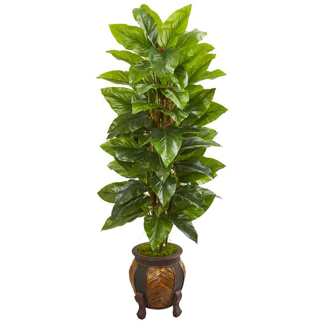 "59"" Large Leaf Philodendron Artificial Plant in Decorative Planter (Real Touch)"