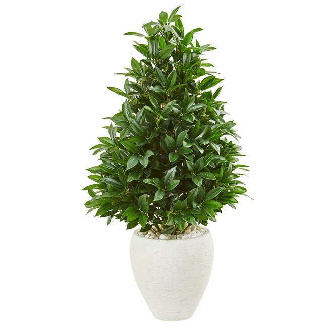 "44"" Bay Leaf Cone Topiary Artificial Tree in White Planter UV Resistant (Indoor/Outdoor)"