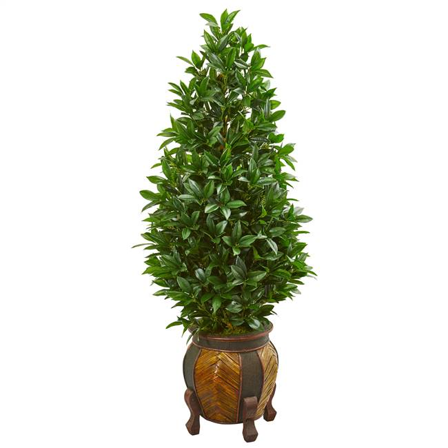 "56"" Bay Leaf Cone Topiary Artificial Tree in Decorative Planter"