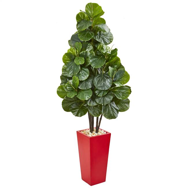 "58"" Fiddle Leaf Fig Artificial Tree in Red Tower Planter"