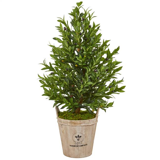 "38"" Olive Cone Topiary Artificial Tree in Farmhouse Planter"