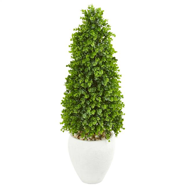 "41"" Eucalyptus Cone Topiary Artificial Tree in White Planter (Indoor/Outdoor)"