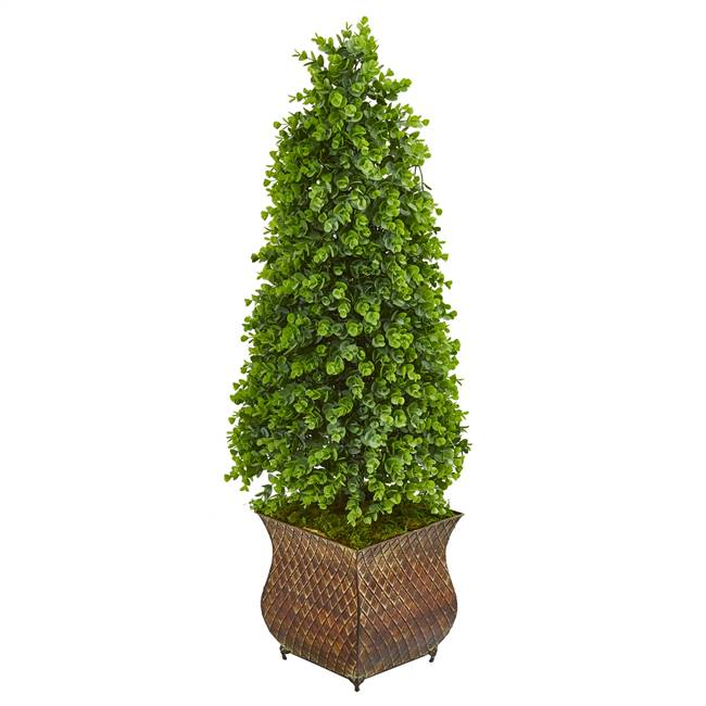 "41"" Eucalyptus Cone Topiary Artificial Tree in Metal Planter (Indoor/Outdoor)"
