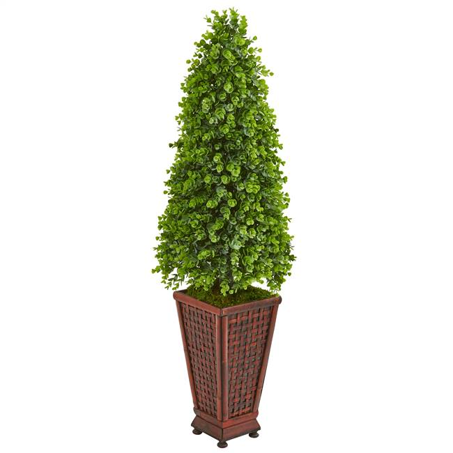 4' Eucalyptus Cone Topiary Artificial Tree in Decorative Planter