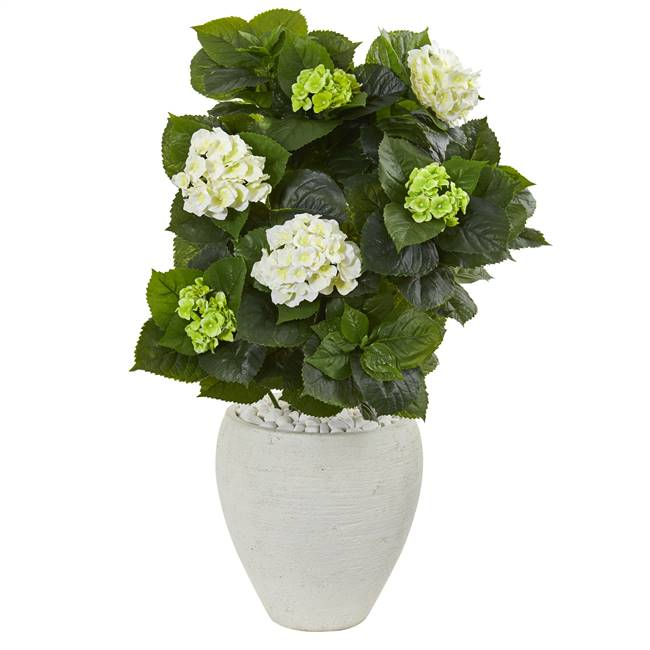 "33"" Hydrangea Artificial Plant in White Planter"