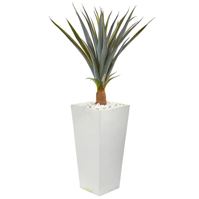 "41"" Agave Succulent Artificial Plant in White Tower Planter"