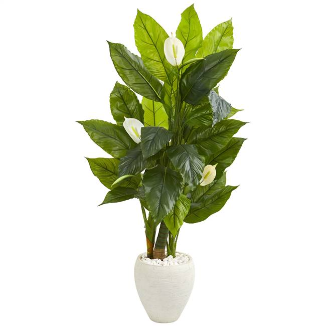 5' Spathyfillum Artificial Plant in White Planter (Real Touch)
