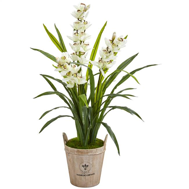"47"" Cymbidium Orchid Artificial Plant in Farmhouse Planter"