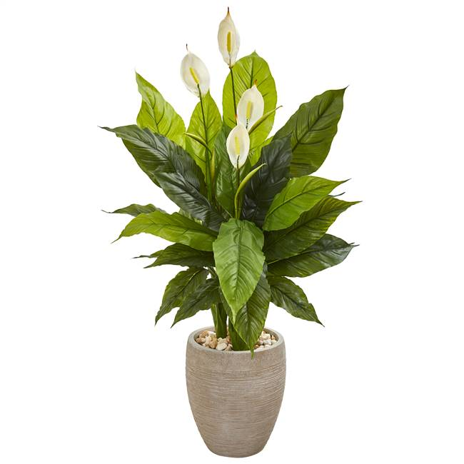"47"" Spathiphyllum Artificial Plant in Sand Colored Planter (Real Touch)"