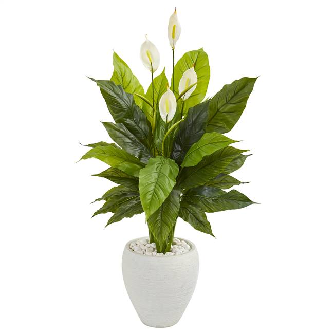 "49"" Spathiphyllum Artificial Plant in White Planter (Real Touch)"