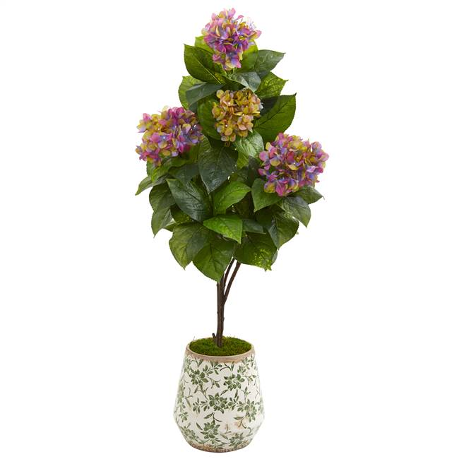 "50"" Hydrangea Artificial Plant in Decorative Planter"