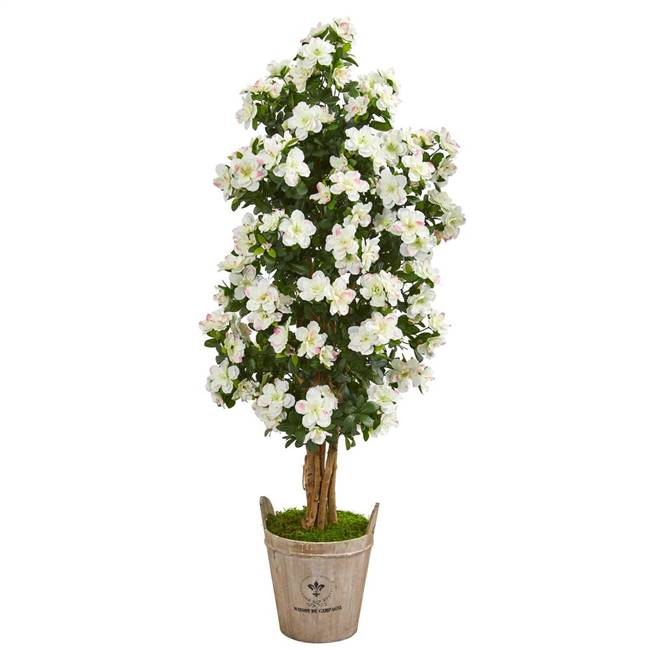 "59"" Azalea Artificial Tree in Farmhouse Planter"