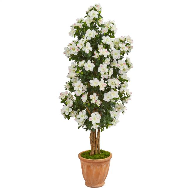 "59"" Azalea Artificial Tree in Terra Cotta Planter"