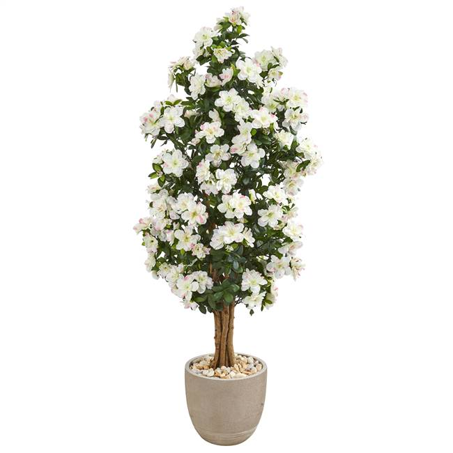 5' Azalea Artificial Tree in Sand Stone Planter