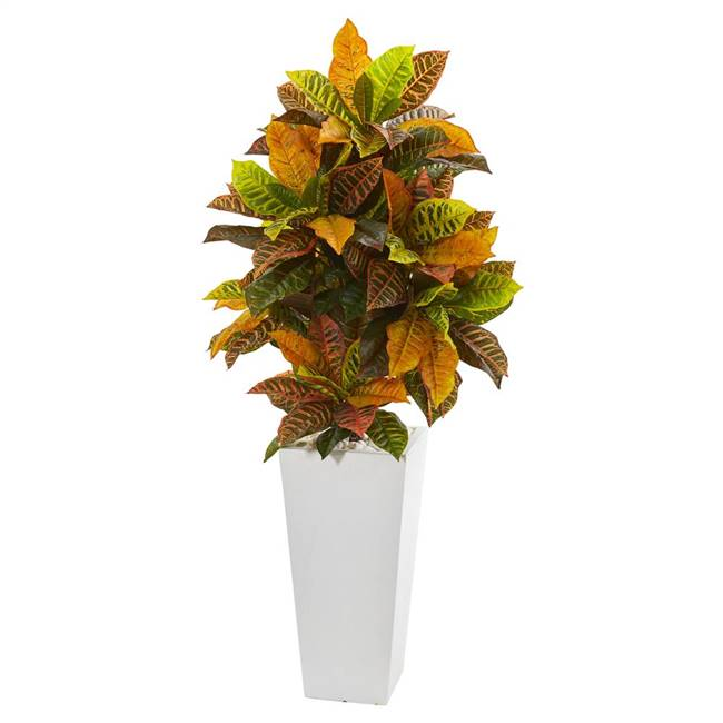"51"" Croton Artificial Plant in White Tower Planter (Real Touch)"