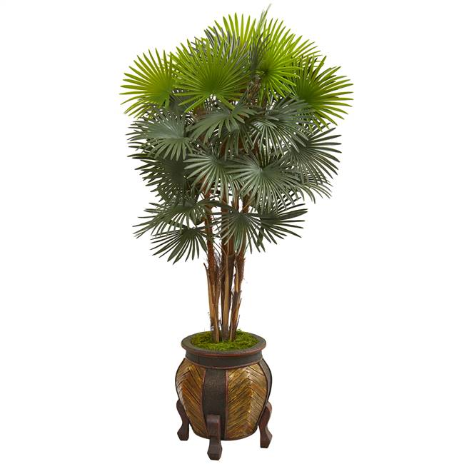 5' Fan Palm Artificial Tree in Decorative Planter