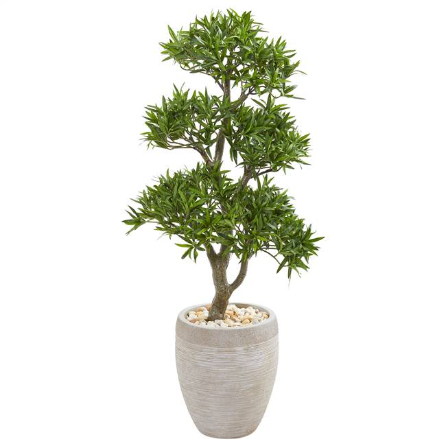 "43"" Bonsai Styled Podocarpus Artificial Tree in Sandstone Planter"
