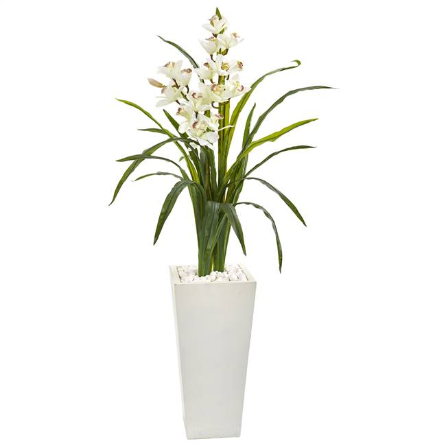 "50"" Cymbidium Orchid Artificial Plant in White Tower Planter"