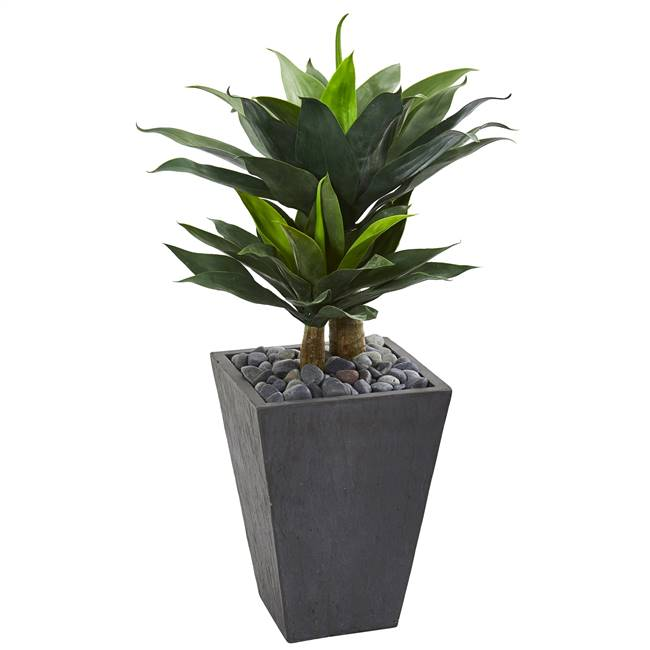 "37"" Double Agave Succulent Artificial Plant in Slate Planter"