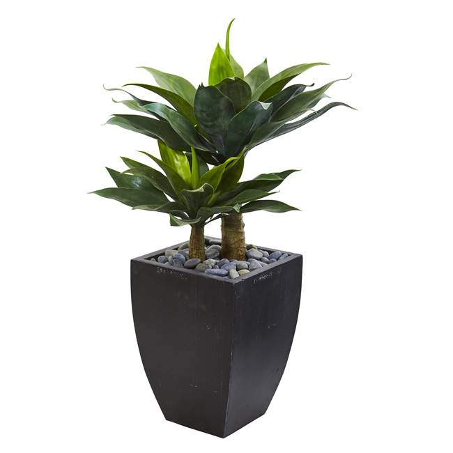 "37"" Double Agave Succulent Artificial Plant in Black Planter"