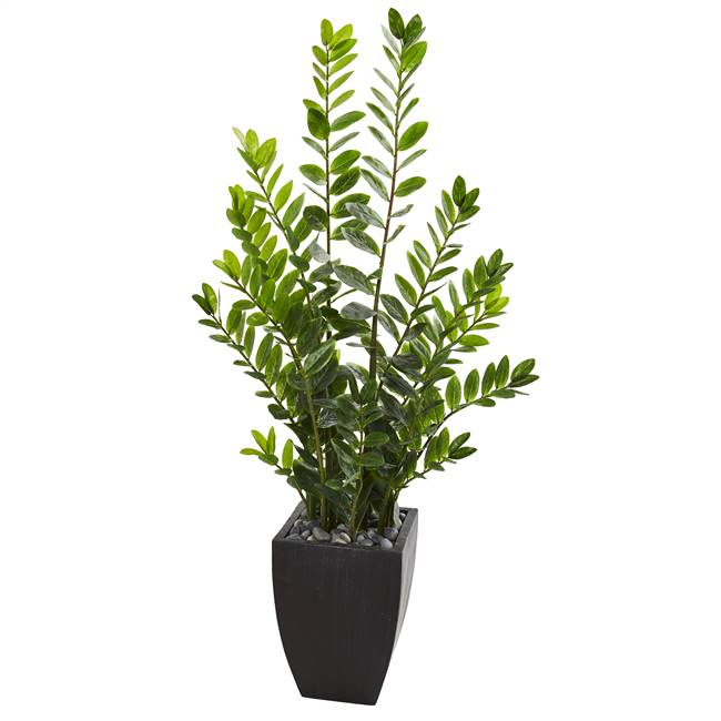 5' Zamioculcas Artificial Plant in Black Planter