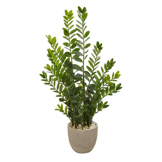 4.5' Zamioculcas Artificial Plant in Sand Stone Planter