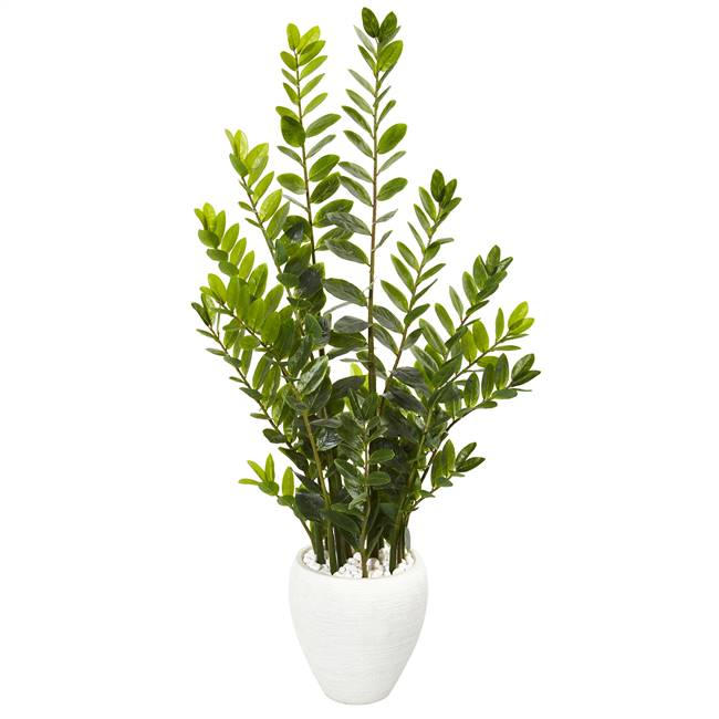 4.5' Zamioculcas Artificial Plant in White Planter