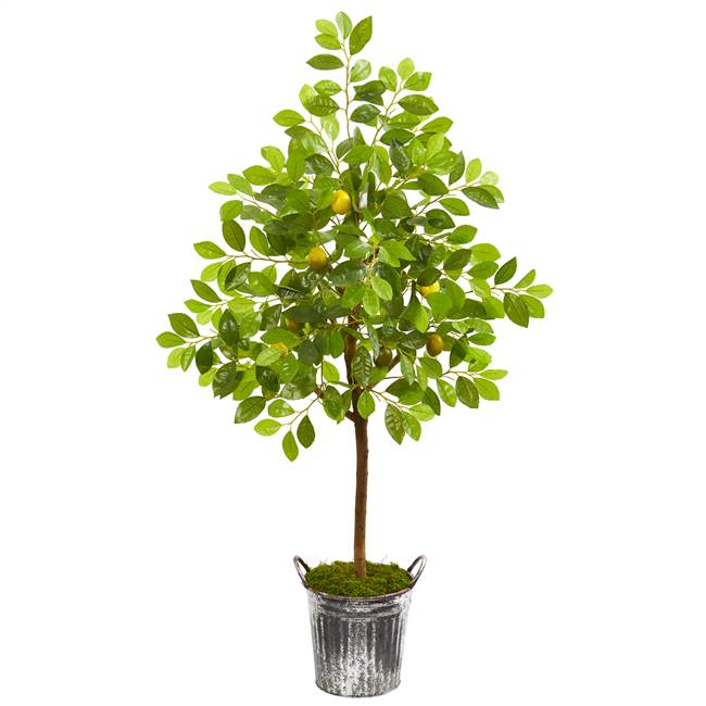 "54"" Lemon Artificial Tree in Vintage Metal Bucket"