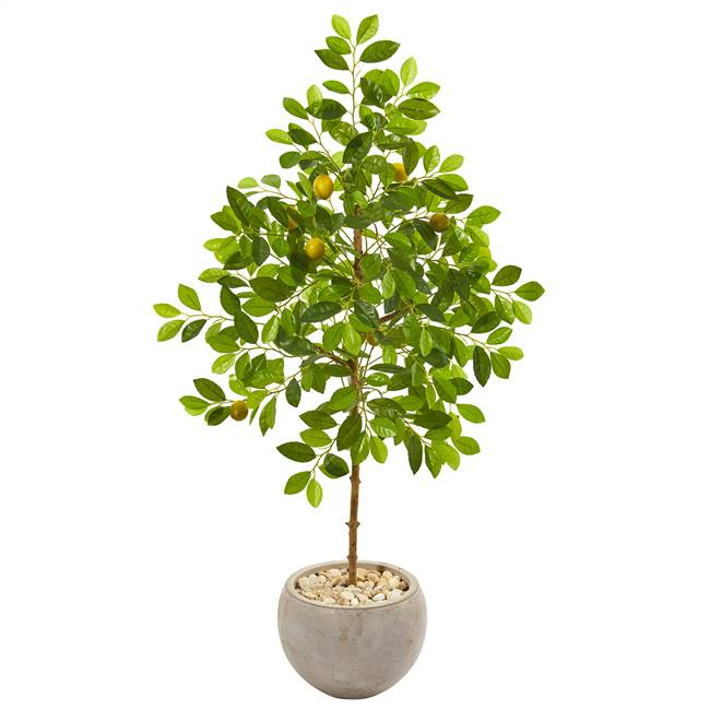 "54"" Lemon Artificial Tree in Sand Colored Planter"
