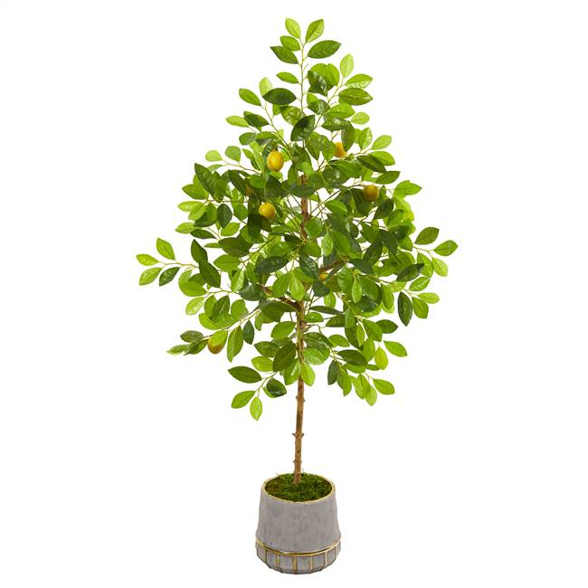 "52"" Lemon Artificial Tree in Stoneware Vase with Gold Trimming"