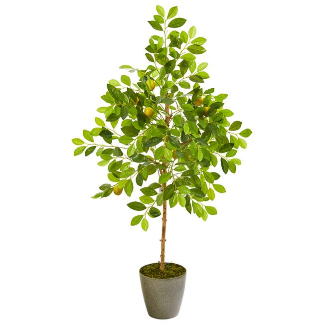 "54"" Lemon Artificial Tree in Olive Green Planter"