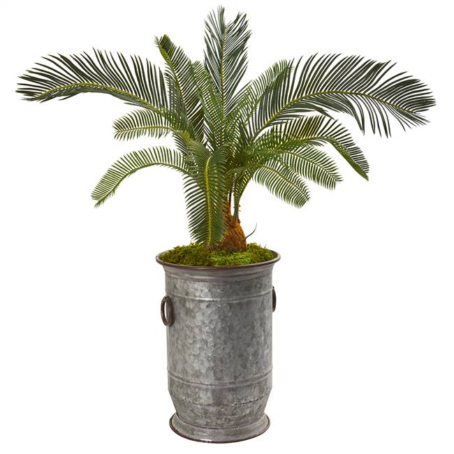 "36"" Cycas Artificial Plant in Vintage Metal Planter"